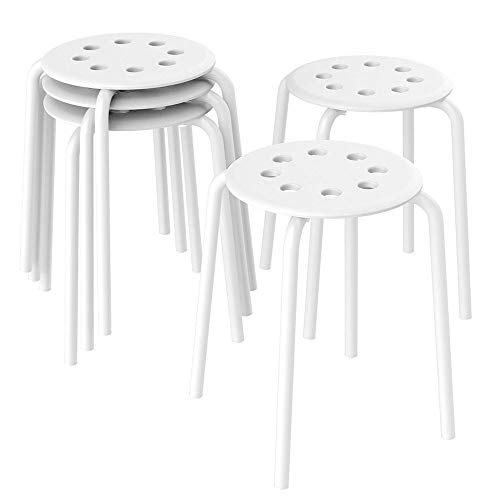 Topeakmart Barstools Plastic Stack Bar Stools Backless Kids Children Stools for Classroom Metal Leg 17.3in Height Set of 5 White