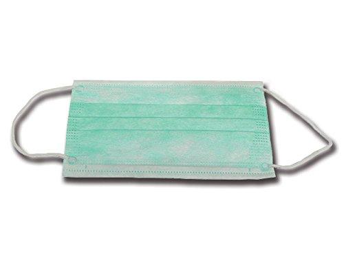 Mascherina 3 Veli Filtro 99%, Verde, con Elastici, Confezione 50 Pezzi