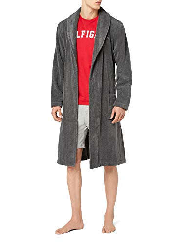 Tommy Hilfiger Herren Bademantel Icon bathrobe, Gr. Small, Grau (MAGNET 884)