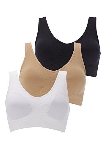 BOOLAVARD® 3-Piece Set confort Sport Bra: blanco, negro y color de la...