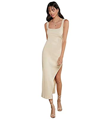 Stretchy and soft fabric to wear, you will like this tank dress at your first sight Sleeveless, solid rib knit long dress with strappy, plain color,split hem design This casual dress would be great to wear on daily life, work, vocation, weekend, casu...