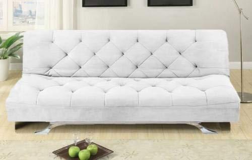 Gstore Divano Letto 3 POSTI RECLINABILE Microfibra Nero E Bianco Sofa Soggiorno [F221 Bianco]