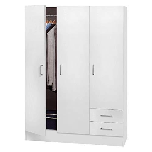 Dmora Armadio a Tre Ante e Due cassetti con Ripiani e Barra Appendiabiti, Colore Bianco, cm 120 x 50 x h170