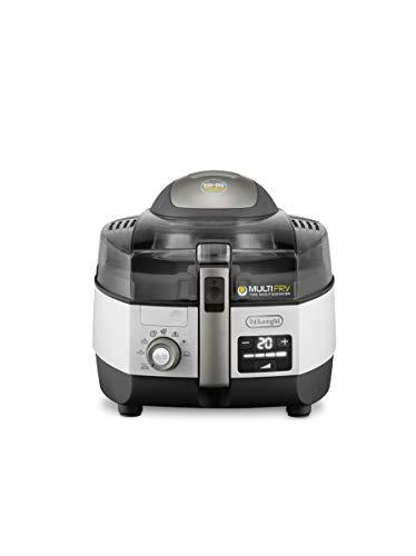 De'Longhi MultiFry Extra Chef Plus FH1396 Heißluftfritteuse, Multicooker mit 1,7 kg Fassungsvermögen, 8 Kochprogramme, Umluftsystem mit 2 Heizelementen, Grillfunktion, Rezept-App, 2300 Watt, grau/weiß