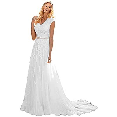 V-neck cap sleeves wedding dress bridal gowns,Built in Bra. Dry clean only. If you need a custom made size,you can send us your detail size: Bust, Waist, Hips and Hollow to Floor.(See Product Description list) , we are always at your service. Most Su...