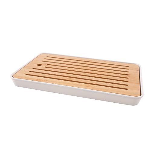 Point-Virgule Schneidebrett aus Bambus mit Auffangschale und Krümelrost, Küche zubehör zum Brot schneiden, braun und weiß, 43x26x4,5cm
