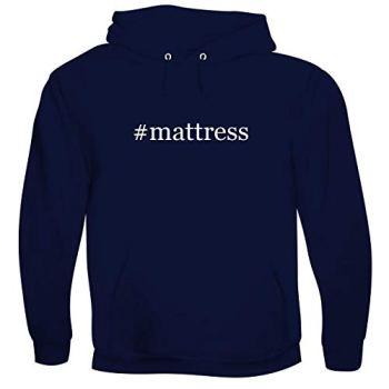 #mattress - Men's Hashtag Soft & Comfortable Hoodie Sweatshirt Pullover, Navy, Medium