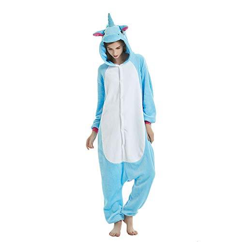 KiKa Monkey Flanela Unicornio Cartoon Animal Novedad Navidad Pijama Cosplay (S, azul)