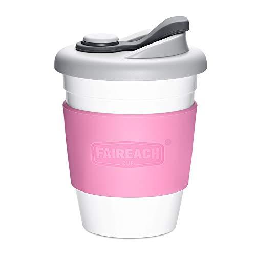 Faireach Tazza da caffè da Viaggio 340ml/12oz, Coffee To Go Cup Riutilizzabile con Coperchio da Asporto, Eco Tazze Mug Senza BPA, per Lavastoviglie e Microonde, Rosa