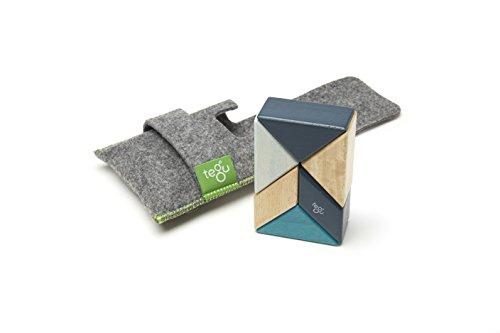 6 Piece Tegu Pocket Pouch Prism Magnetic Wooden Block Set, Blues