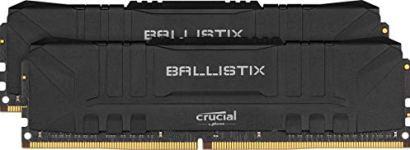 Crucial Ballistix 3600 MHz DDR4 DRAM Desktop Gaming Memory Kit 16GB (8GBx2) CL16 BL2K8G36C16U4B (Black)