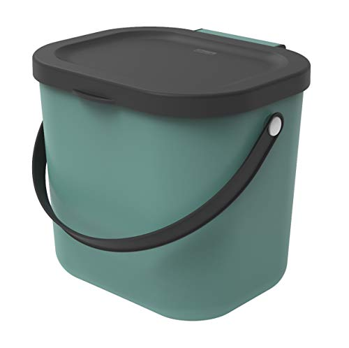 Rotho Albula Biomülleimer 6l für die Küche, Kunststoff (PP), dunkelgrün/anthrazit, 8 Liter (23,5 x 20 x 20,8 cm)