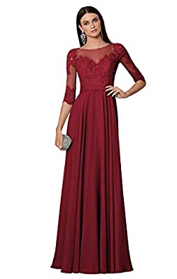 Dress features:chiffon,lace appliques bodice,half sleeves,sheer jewel neck,backless,floor length,a line silhouette,long formal/semi-formal evening prom party gowns In order to choose a suitable size for you, do please have a look of our size chart wh...