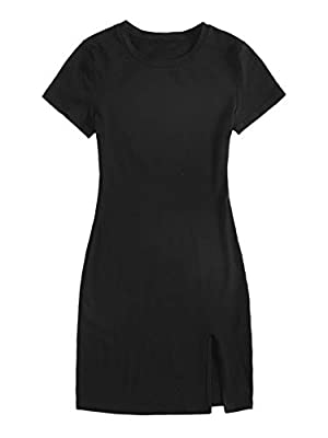 Fabric has elasticity Solid, short sleeve, split hem, round neck, bodycon dress Suitable for everyday dressing, party and club wear, for summer Machine wash cold gentle, with like colors, do not bleach. Please refer to Size Chart in Product Descripti...
