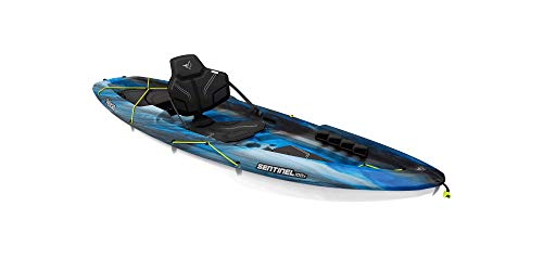 Pelican Sit-on-Top Kayak - Sentinel 100X - 9.5 Feet - Lightweight one Person Kayak (EXO Neptune White, Recreational) (MEF10P100-00)