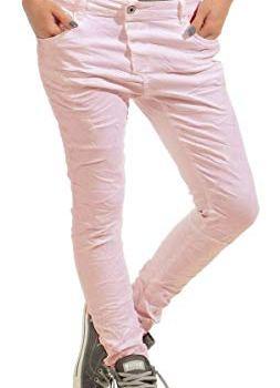 Lexxury 4325 Damen Jeans Röhrenjeans Hose Rosa