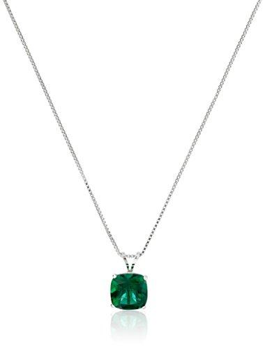 Sterling Silver Cushion-Cut Checkerboard Created Emerald...