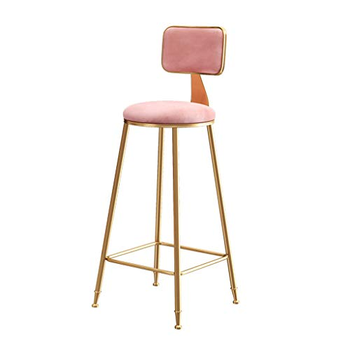 Nye 25in/30in Bar Stool High Stool with Ergonomic Backrest, Bar Counter Kitchen Height Breakfast Chair, Modern Metal Legs, Maximum Load 150kg, Pink/Grey