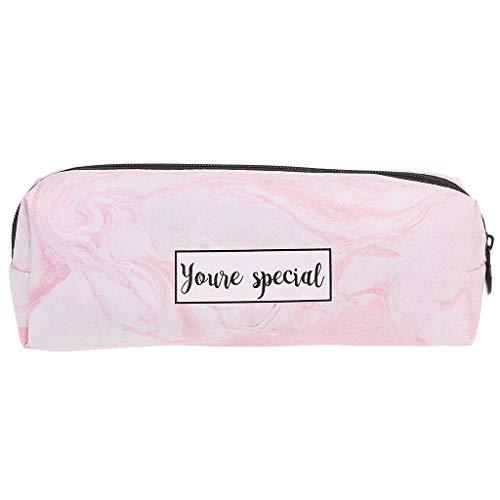 Youliy, astucci per ragazze, astuccio effetto marmo, articoli di cancelleria per la scuola rosa