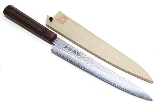 Product Image 1: Yoshihiro VG-10 46 Layers Hammered Damascus Sujihiki Japanese Slicer Knife (9.5'' (240mm) Rosewood Handle)
