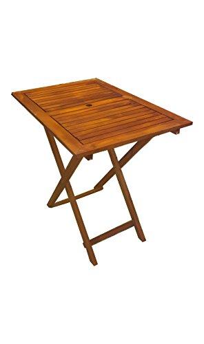 PJ, tavolo pieghevole in legno con foro per ombrellone, light, 120x60 cm