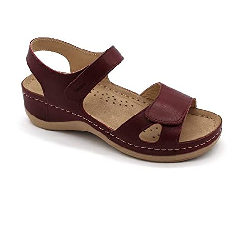 LEON 935 Sandalias Zuecos Mules Zapatillas Zapatos de Cuero, Mujer, Rojo Oscuro, EU 36