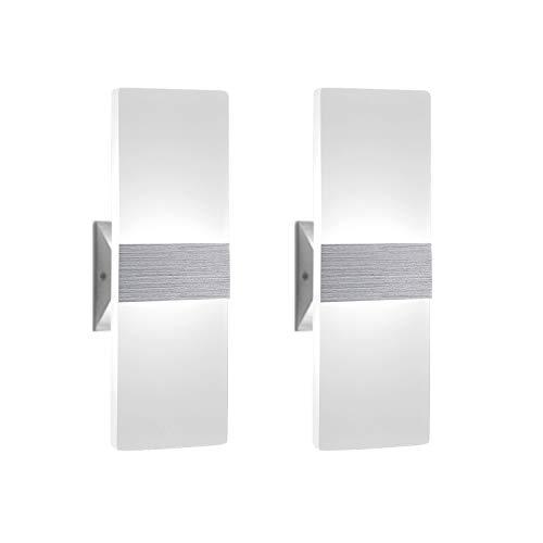 2 Stücke Wandleuchte Innen 12W Wandlampe LED Acryl Wandbeleuchtung Modern für Wohnzimmer Schlafzimmer Treppenhaus Flur | Kaltes Weiß 6000K