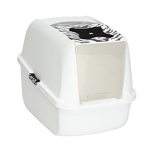 Catit Large Hooded Cat Litter Box, White Tiger, 50703
