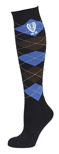 Covalliero Brescia 324210 - Calze da Equitazione, da Donna, Motivo a Quadri, Taglia 34-36, Colore: Blu Scuro