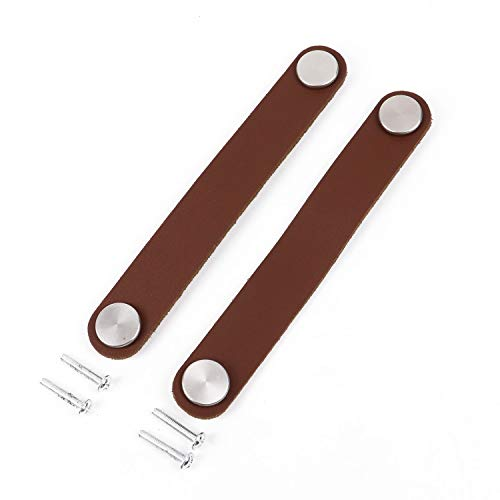 Pomeat 2Pcs Cabinet Handle Leather Drawer Pulls Leather Handle Pull Knob