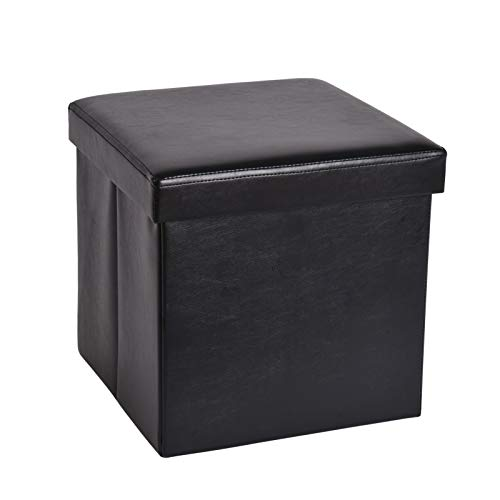Slashome Storage Ottoman Cube, Foldable Tufted Faux Leather Footrest Stool with Padded Seat, Max Load 350lbs, Black