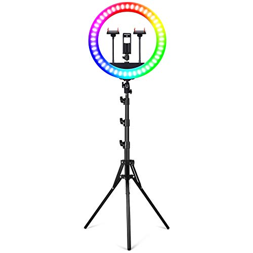 19' Selfie RGB Ring Light with Stand - YUNLIGHTS 11 Colors Modes RGB Dimmable LED Ring Light with Phone & iPad Holder for YouTube|Video|Shooting|Vlogs|Makeup, Compatible with iPhone Android Phone