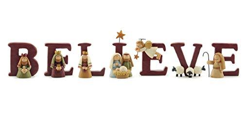 B-E-L-I-E-V-E Nativity Resin Christmas Decoration Set of 7 Letters - Size 1.75 in Tall
