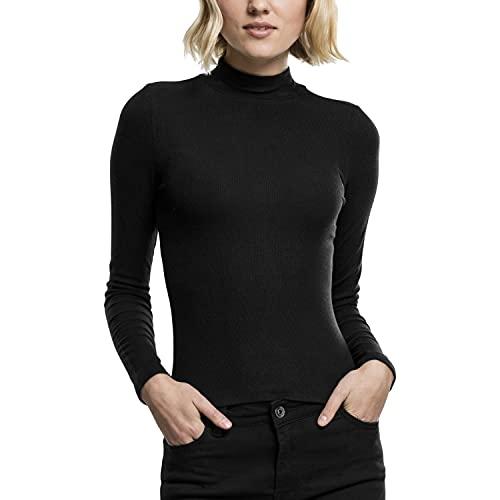 Urban Classics Damen Ladies Turtleneck Longsleeve Langarmshirt, Schwarz (Black 7), Small