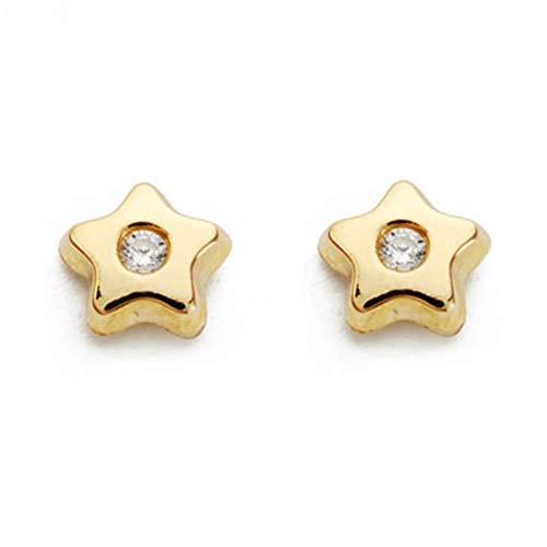Boucles d'Oreilles Enfant étoile - Or Jaune 375/1000 (9 Carats)