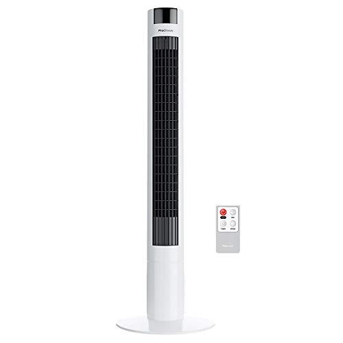 Pro Breeze™ Oszillierender Turmventilator, 100 cm Höhe, 80 Grad Oszillation, Säulenventilator mit 3 Geschwindigkeitsstufen, 45 Watt Ventilator mit Fernbedienung und Timer   Weiß