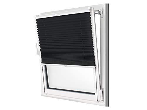 npluseins Plissee - vormontiert und mit Klemmfixierung am Fensterahmen - kinderleichte 3-Step Montage, ca. 65 x 130 cm, schwarz