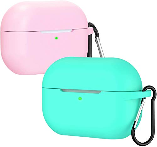 ivoler Cover Airpods PRO, [2 PCS] Custodia Protettivo in Silicone Compatibile con Apple AirPods PRO(LED Visibile) - Custodia Airpods PRO con Portachiavi, Supporto Ricarica Wireless, Rosa+Verde Menta