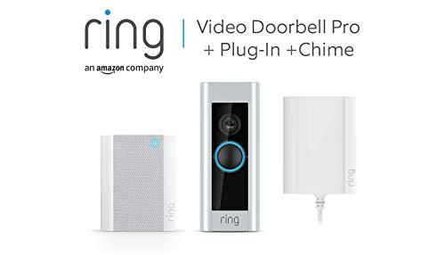 Ring Video Doorbell Pro mit Netzteil und Ring Chime von Amazon, 1080p HD-Video, Gegensprechfunktion, Bewegungserfassung   Mit kostenlosem 30-tägigem Probeabonnement von Ring Protect