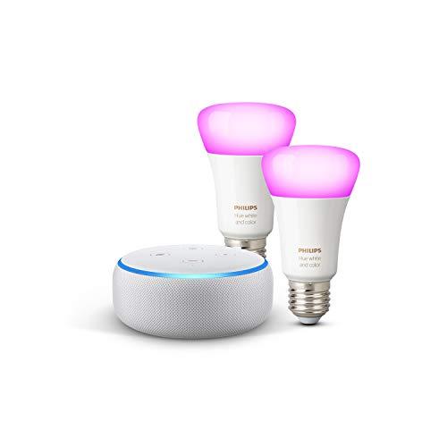 31AEtPfn5KL Bon Plan Hue !  Echo Dot (3ème génération), Tissu sable + Philips Hue White & Color Pack de 2 ampoules LED connectées (E27), compat...
