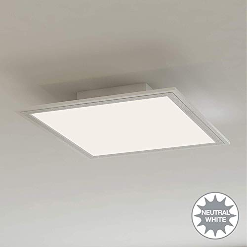 Briloner Leuchten - Lampada da soffitto a LED, Luce bianca naturale 4000K, metallo, metallo;plastica, bianco