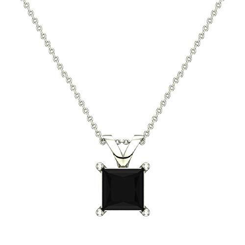 1/2 ct tw Natural Black Natural Princess cut Diamond Solitaire Pendant Necklace 14K White Gold