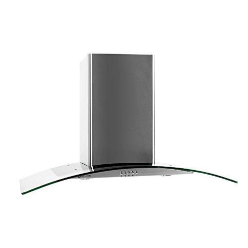 Klarstein GL90WS Cappa Aspirante con rivestimento in vetro e acciaio inox (90 cm, potenza di...