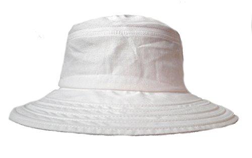 Damen Hut Leinenhut Kofferhut Reisehut Sonnenhut Sonnenschutz roll und faltbar Urlaub (Weiß)