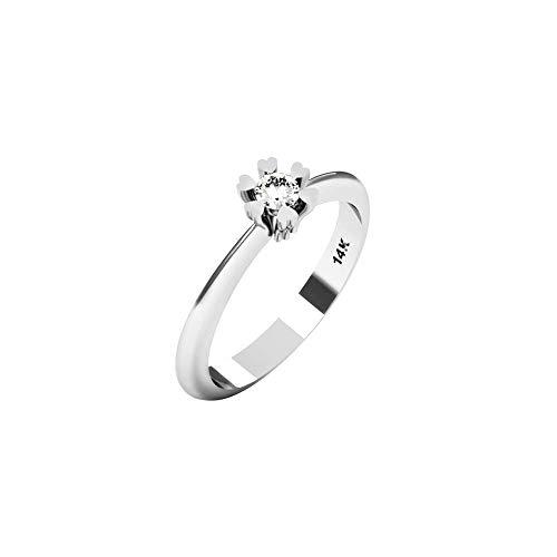 QUIMERA JEWELRY AN Anillo Solitario Oro Blanco 14kt con Diamante 0,11ct | Anillo Compromiso Oro Blanco y Diamante, Talla 16