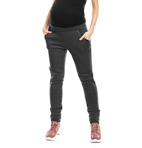 Selente Mummy Love 0133 Damen Lange Umstandshose/Umstandsleggins (Made in EU) für die Schwangerschaft, Hose mit Bündchen Dunkelgrau, Gr. S/M