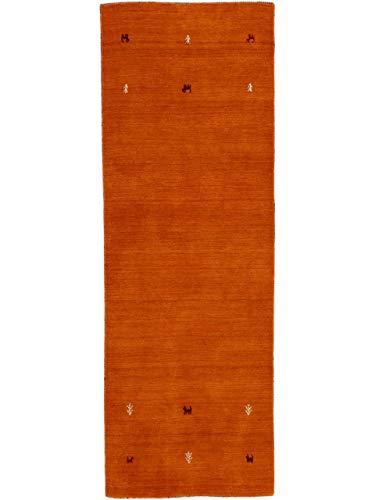CarpetFine: Tappeto di Lana Gabbeh Uni Passatoia 75x240 cm Arancione - Monocromatico