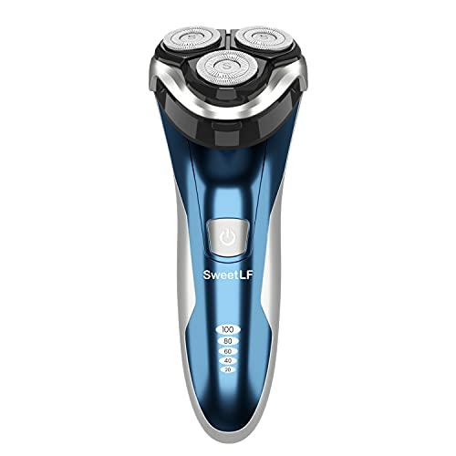 SweetLF Wet & Dry Rasoio Elettrico Barba Uomo Ricaricabile Rasoio Barba Impermeabile a 3 Testine Rotanti per Rasatura (Blu)