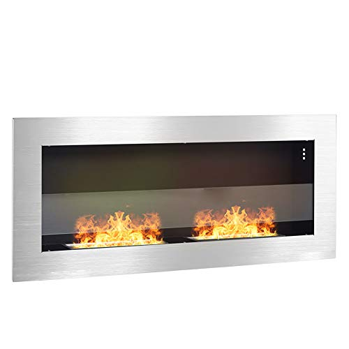 DKIEI Ethanol Fireplace Wall Mounted Bio Ethanol Fireplace Insert Fires 2 Burners No Chimney, No Electricity Required Stainless steel, 90x15x40cm