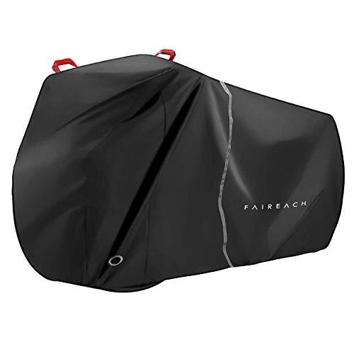 Faireach Abdeckplane Fahrrad Wasserdicht, Fahrradabdeckung 210D Premium-Stoff, Fahrradgarage Schutz vor Staub Regen Schnee UV, Schutzhülle mit Schlosslöcher & Beutel für alle Fahrradtypen